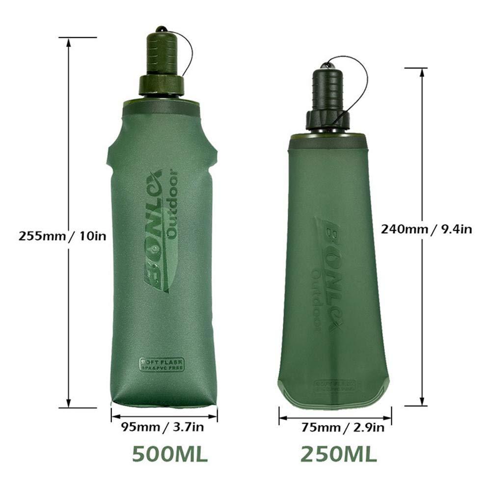 Baiwka Botella De Agua Plegable con Tornillo A Prueba De Fugas Botella De Agua Superior BPA Exprimido Plegable De Silicona para Deportes Viajes Ciclismo Acampar Fitness Y Gimnasio Botella De Agua