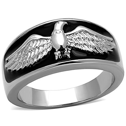 (Drop of Silver Men's Black & Stainless Steel Flying US American Eagle Biker Ring Band, Size 12)
