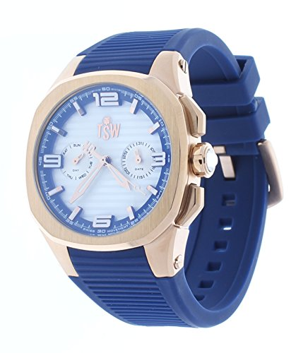 Technosport Day-Date White Dial Rose Gold Case Blue Silicone Strap Womens Watch TS-100-PP3