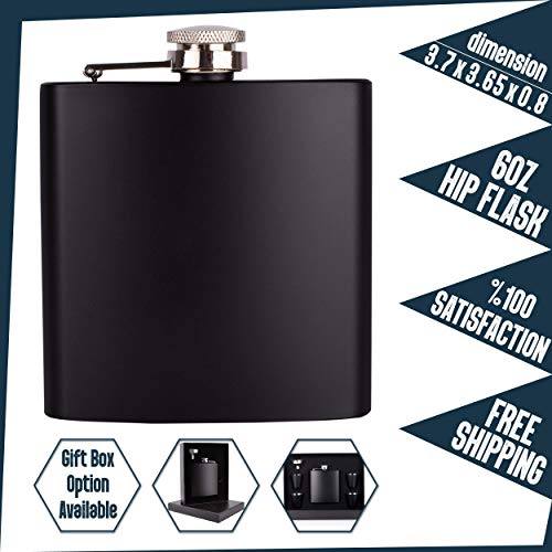 Personalizedgiftland Personalized Flask, Set Of 6 - Customized Flask Groomsmen Gifts For Wedding Favors, Personalized Groomsman gift - Stainless Steel Engraves Flasks w Gift Box Options - 6oz, Black by PersonalizedGiftLand (Image #4)