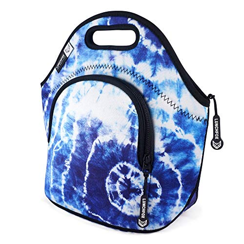 Neoprene Lunch Bag for Women/Men - Heart of Venice by LunchFox - Tie Dye Insulated Bags/Totes - (The Original) Ultra Thick Neoprene Lunch Tote - The Adult Lunch Box for Work, School, or Play