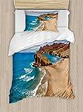 Ambesonne Landscape Duvet Cover Set Twin Size, Ocean View Tranquil Beach Cabo De Gata Spain Coastal Photo Scenic Summer Scenery, Decorative 2 Piece Bedding Set with 1 Pillow Sham, Blue Brown
