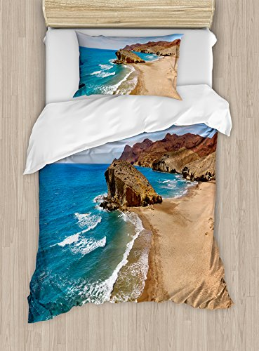 Ambesonne Landscape Duvet Cover Set Twin Size, Ocean View Tranquil Beach Cabo De Gata Spain Coastal Photo Scenic Summer Scenery, Decorative 2 Piece Bedding Set with 1 Pillow Sham, Blue Brown by Ambesonne