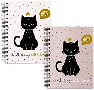 Dcasa - Libretas A5 diseño Cat lover - Pack 2 ud.: Amazon.es: Hogar