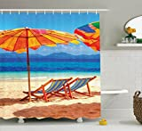 Seaside Decor Shower Curtain Set by Ambesonne, Deck Chairs Overlooking Tropical Sea of Thailand Beach Exotic Holiday Picture , Bathroom Accessories, 75 Inches Long, Orange Blue