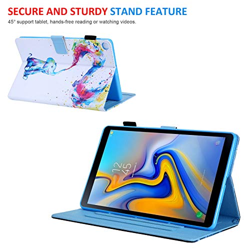 Galaxy Tab A 8.0 inch Case, T290 Case, Dteck Multiple Viewing Angles Folio Stand Protective Wallet Case with Card Slots for Samsung Galaxy Tab A 8.0 2019 Model T290 T295 T297, Colorful Elephant