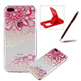 TPU Case for iPhone 7 Plus,Clear Case for iPhone 8 Plus,Herzzer Ultra Slim Stylish [Colorful Pattern] Soft Silicone Gel Bumper Cover Flexible Crystal Transparent Skin Protective Case