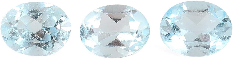 OOAK by Virat 3 piezas de piedra de topacio azul cielo A +, cristales de corte premium, fabricación de joyas de bricolaje, suministros de piedras preciosas sueltas, 6+ cts, aproximadamente 9 mm