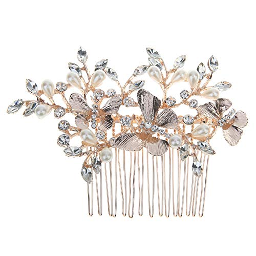HDE Vintage Bridal Hair Accessories Rose Gold Hair Comb for Brides Butterfly Wedding Hair Brooch (Crystal Motif Brooch)