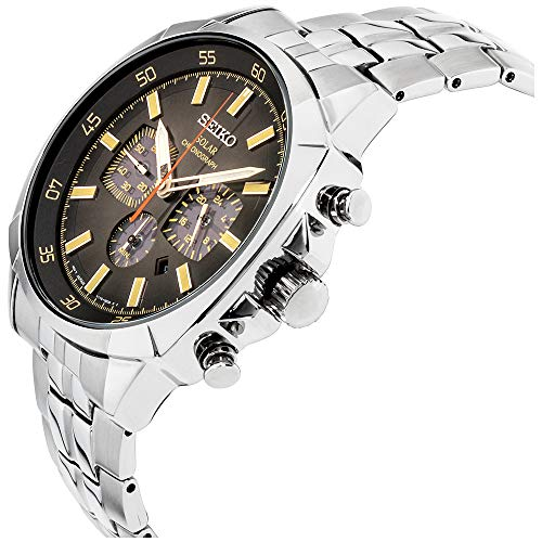 Seiko Recraft Black Dial Stainless Steel Mens Watch SSC511XG (Renewed)