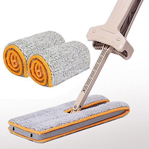 Lightning Deals Lazy Mops,ZYooh Double Sided Non Hand Washing Mop Accessories Dust Push Mop Cloth Washable Mop Home Cleaning Tool (Khaki_2 Pc Mop ()