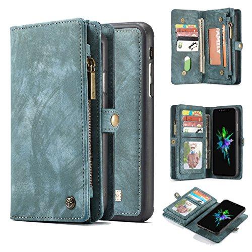 iPhone X/Xs Wallet Case,AKHVRS Handmade Premium Cowhide Leather Wallet Case,Zipper Wallet Case [Magnetic Closure]Detachable Magnetic Case & Card Slots for iPhone X/Xs - Blue