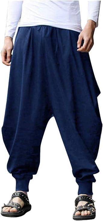 ZIXINGA Pantalones Harem, Retro Estilo de fama Suelto Aladdin Pants, Algodón, Pantalones de Hombre: Amazon.es: Ropa y accesorios