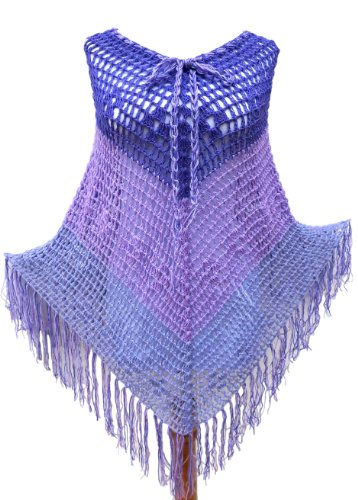 Handmade Crocheted Poncho - English Lavender (Made to Order)