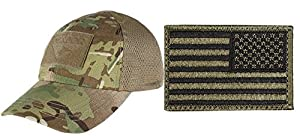 Condor Mesh MultiCam Cap + USA FLAG PATCH OD GREEN RIGHT