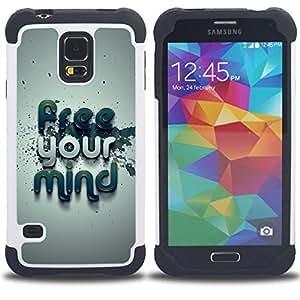 - Free Your Mind Typography - - Doble capa caja de la armadura Defender FOR Samsung Galaxy S5 I9600 G9009 G9008V RetroCandy
