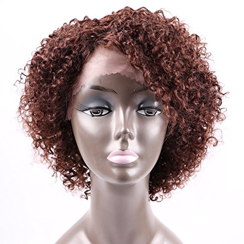 [Fani Short Curly Wigs for Black Women 8A Curly Explosion Head Wig Virgin Human Hair Lace Front Wig Dark Brown Unprocessed Virgin Brazilian Hair Wigs with Free Wig] (Curly Wigs For Black Hair)