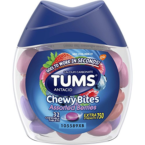 TUMS Chewy Bites Assorted Berries Antacid Hard Shell Chews for Heartburn Relief, 32 (Antacid Chew)