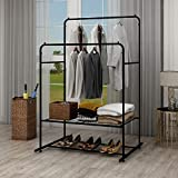 DUMEE Double Rail Clothes Rack Metal Garment Rack Heavy Duty Coat Racks Hanger