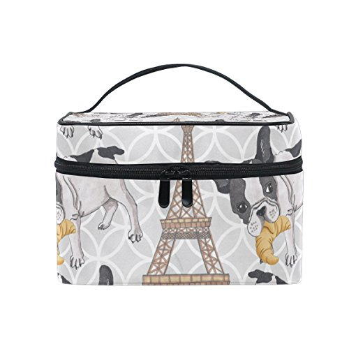 (KUWT French Bulldog with Croissant in Eiffel Tower Women Travel Cosmetic Bag Portable Makeup Train Case Toiletry Bag Beauty Organizer)