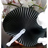 PaperLanternStore.com 9 Black Chinese Folding Accordion Paper Hand Fan for Weddings (10 Pack)