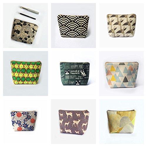 Set of Six Gift/ Handcraft Cosmetic Makeup Bag, Travel Organizer Zipper Pouch Medium by kkissmade