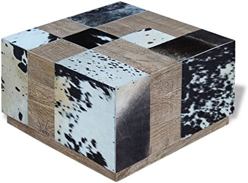 Beste Leverancier Festnight salontafel van rundleer + hout, meerkleurig, 60 x 60 x 36 cm  aDSEWrb