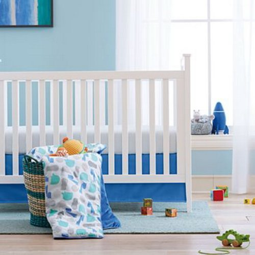 giggleBABY Blue Jungle Soup Collection 3 Piece Crib Bedding by Giggle Baby   B00JS41D46