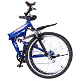SucceBuy Folding Mountain Bike 26 Inch Steel Dual Suspension Folding Bike 7 Speed Folding Bike Shimano Aluminum Alloy For Exercise