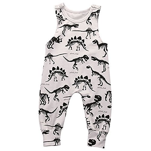 aby Boys Animal Printed Sleeveless Romper One-Piece Bodysuit Jumpsuit Outfits Grey (70cm/0-3 Months) (Animal Romper)