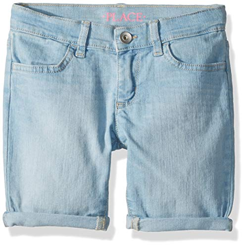The Children's Place Big Girls' Plus Sized Denim Shorts, LTBLUUNICRN wash, 12