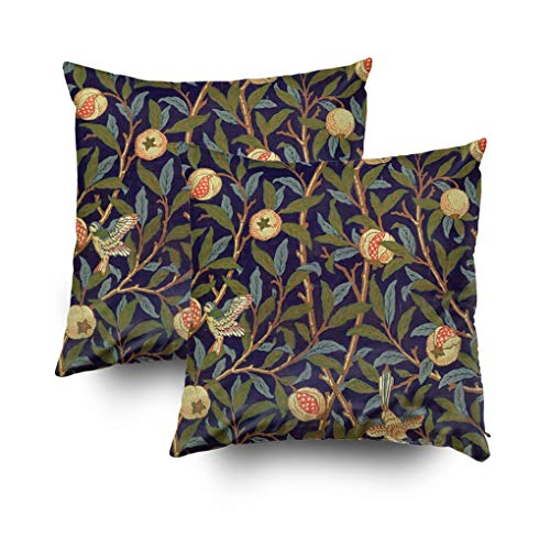 (Musesh Christmas Pack of 2 Morris Bird Pomegranate Cushions Case Throw Pillow Cover for Sofa Home Decorative Pillowslip Gift Ideas Household Pillowcase Zippered Pillow Covers 16x16Inch)