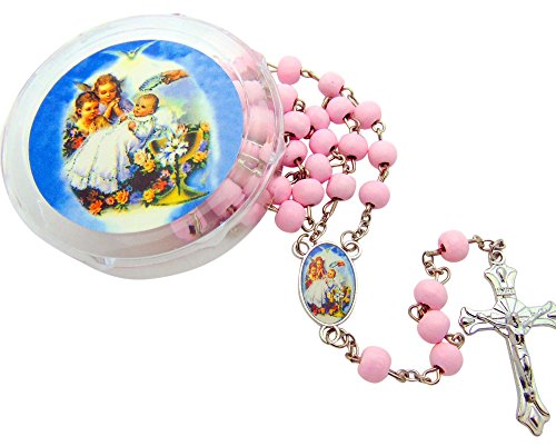 Westman Works Baptism Rosary Favors Bulk Pink Girls Rosary with Case Lot, Set of 12