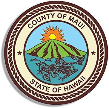 Decal Logo Insignia hi American Vinyl Round County of Maui Hawaii Seal Sticker