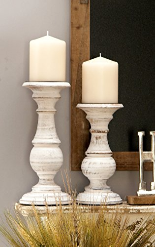 Deco 79 Wood Candle Holder, 10 by 8 by 6-Inch, White, Set of 3 by Deco 79 (Image #2)