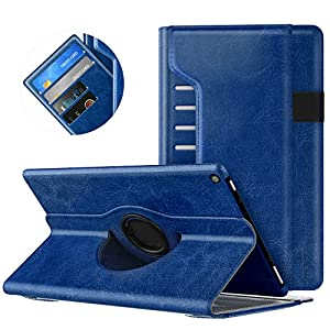 MoKo Case for All-New Amazon Fire HD 10 Tablet (7th Generation/9th Generation, 2017/2019 Release) - 360 Degree Rotating Swivel Stand Cover with Auto Wake/Sleep for Fire, Indigo