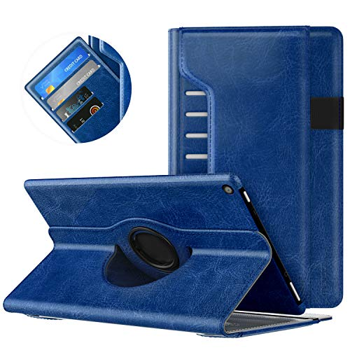 MoKo Case for All-New Amazon Fire HD 10 Tablet (7th Generation, 2017 Release) - 360 Degree Rotating Swivel Stand Cover with Auto Wake/Sleep for Fire HD 10.1 Inch Tablet, Indigo
