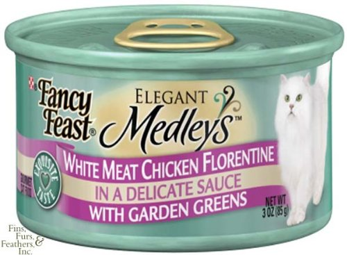 Fancy Feast Elegant Medley`s White Meat Chicken Florentine With Garden Greens Canned Cat Food 24 - 3oz Cans