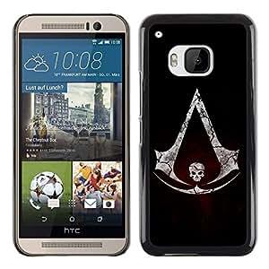 LECELL -- Funda protectora / Cubierta / Piel For HTC One M9 -- Assassins Logo Skull --