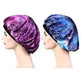 2 Pieces Soft Sleep Cap - Night Satin Bonnet with Wide Premium Elastic Band for Women