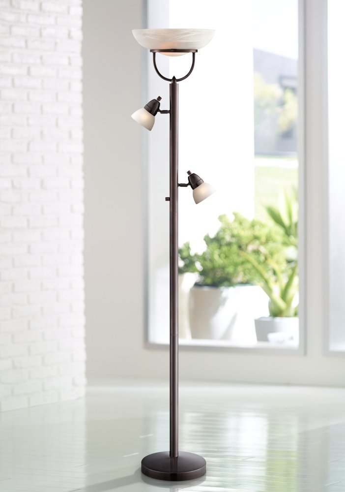 3 in 1 design contemporary torchiere floor lamp bronze amazon com