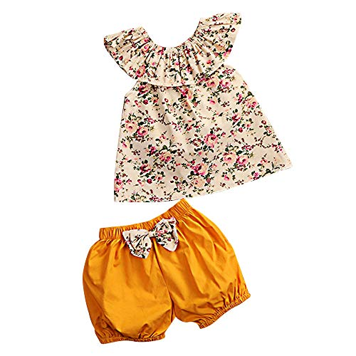 (Baby Clothing Kids Summer Clothes Girls Flower Printing Vest + Pure Color Pants Children Clothing Set (Yellow-d, 18-24M))