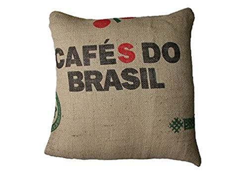 Funda cojin CafŽ do Brasil - saco de cafŽ - cojin terraza - decoracion casa - cojin ecologico - wikipillow - 45x45cm.: Amazon.es: Hogar
