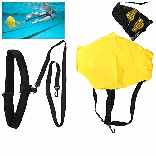 Swimming Resistance Belt Swim Training Exerciser Belt Traction Resistance Swiming Training Device Swim Resistance Cords Drag Belt with drag parachute for Adults and - Equipment Swiming