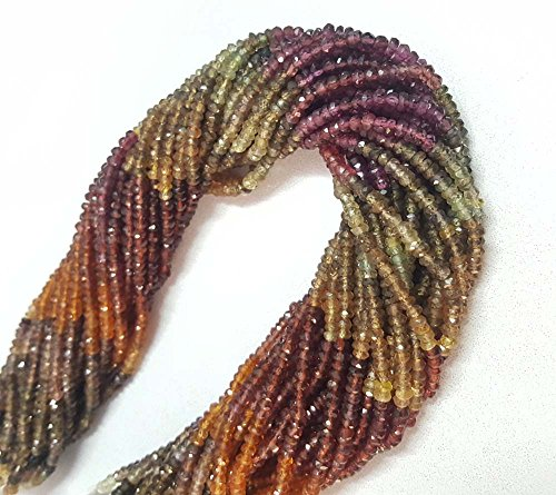 Vintagegems 10 strand of AAA+ Faceted Rondelle Beads Tundra Sapphire Gemstone 3-4mm 13