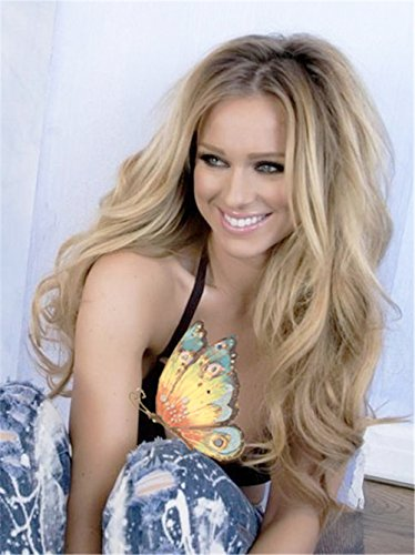 Vedar Beauty Long Curly Synthetic Lace Front Wig Light Brown Root Ombre Blonde Full Hair Wigs For Women(22Inches)