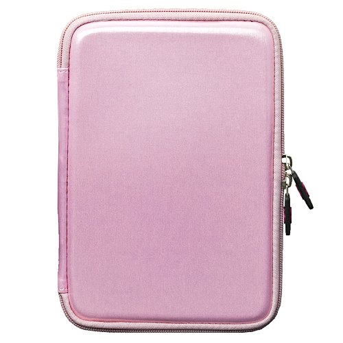 Pink Carbon Fiber Durable Slim Protective Eva Storage Cover Cube Carrying Case with Mesh Pocket for Barnes & Noble NOOK Simple Touch eBook Reader BNRV300 (Nook 2nd Generation Release 2011 Model )+ a Black Micro USB Cable + a Anti-Glare Screen Protector +