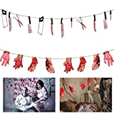 zombie supplies - ANPHSIN 2 Set Scary Halloween Decorations - Halloween Bloody Weapon Garland Props, Bloody Hands and Feet Hanging Banner Vampire Zombie Party Supplies