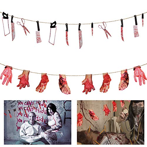 ANPHSIN 2 Set Scary Halloween Decorations - Halloween Bloody Weapon Garland Props, Bloody Hands and Feet Hanging Banner Vampire Zombie Party Supplies -
