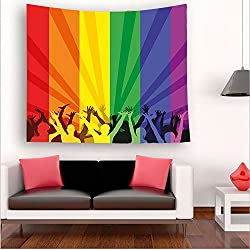 Nalahome-ride Decorations People Celebrating International Day for LGBT Community Colorful Striped Multicolor tapestry psychedelic wall art tapestry hanging 51W x 51L Inches